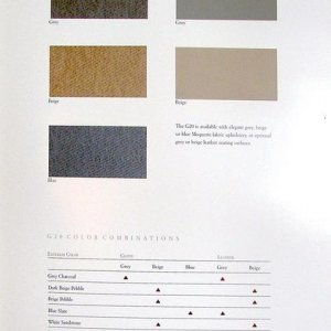 1990 G20 brochure-color & upholstery interior combinations